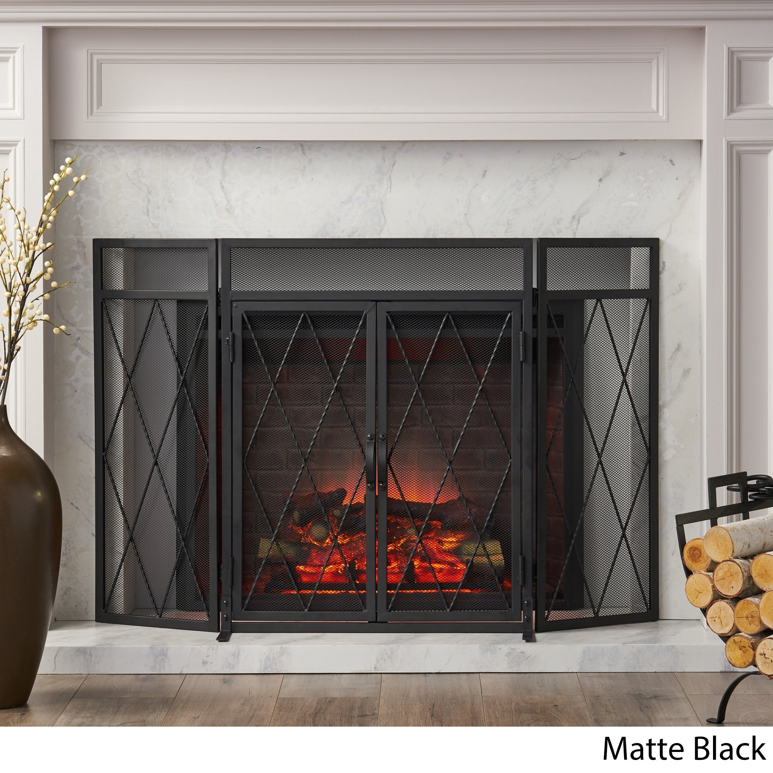 Blyfield Modern Iron Folding Fireplace Screen With Door By Christopher Knight Home On Sale Overstock 30355197