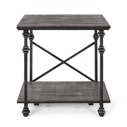 "Morell Modern Industrial End Table by Christopher Knight Home - 23.60"" W x 22.00"" D x 23.00"" H"