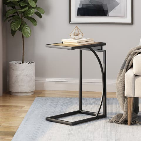 """Barrybrooke Modern Industrial C-Shaped End Table by Christopher Knight Home - 12.00"""" W x 18.00"""" D x 25.25"""" H"""