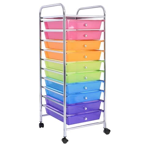 10-Drawer Rolling Cart Utility Organizer with Wheels