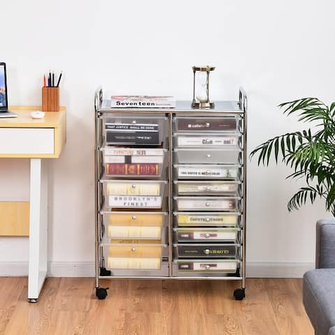 15-Drawer Utility Organizer Rolling Cart with Wheels