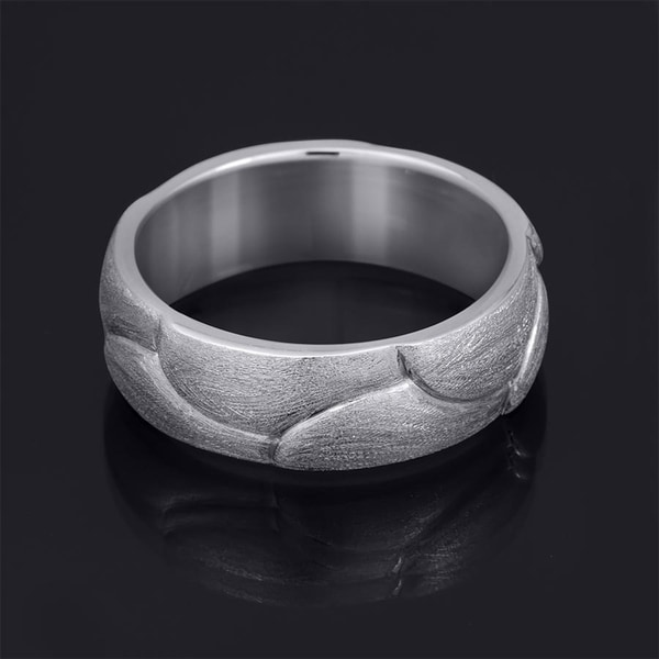 14K White Gold Plated .925 Sterling Silver 6 mm Plain Mens Wedding Band
