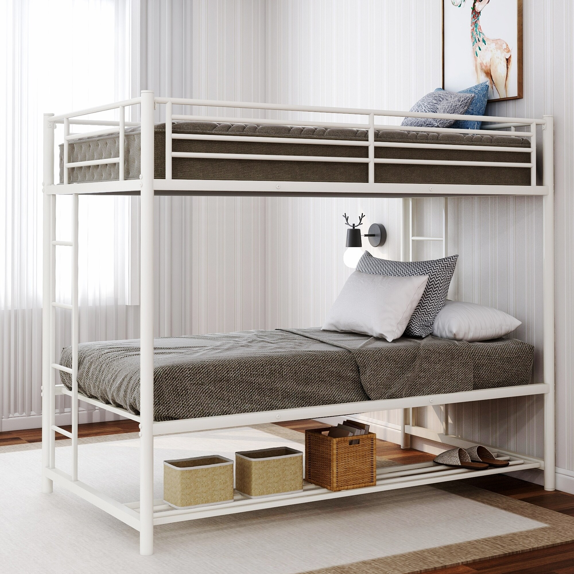 Shop Black Friday Deals On Harper Bright Designs Twin Over Twin Bunk Bed With Storage Overstock 30355492