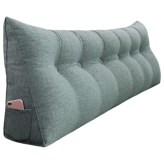 WOWMAX Bed Rest Wedge Bolster Reading Pillow Back Lounge Support Gray