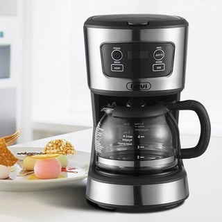 Grey 5 Cup Programmable Drip Coffee Machine Maker with Coffee Pot