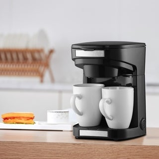 Black 2 Cup/Person Coffee Maker Drip Coffee Machine With Porcelain Cup