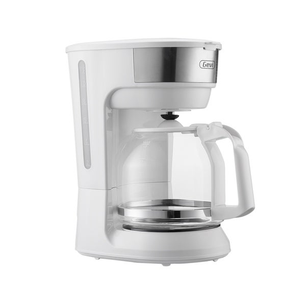 White 12 Cup Instant Drip Coffee Brewer Machine with Glass Carafe