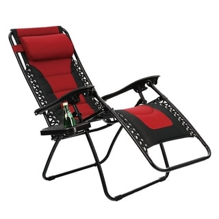 Link to Kaimana Red Padded Zero Gravity Reclining Foldable Lounge Chair by Havenside Home Similar Items in Patio Furniture