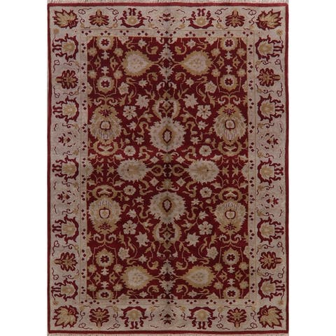 "RED & IVORY Floral Oushak Area Rug Hand-Knotted Oriental Carpet - 9'0"" x 11'0"""