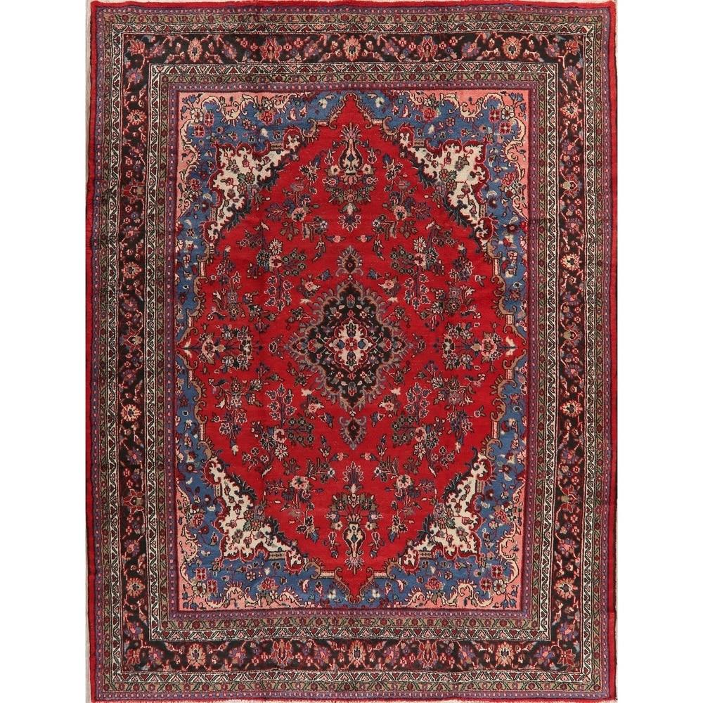 Vintage Floral Hamedan Persian Area Rug Handmade Oriental Red Carpet - 8'10