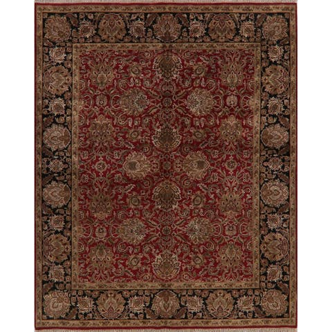 """All-Over Agra Floral Oriental Area Rug Wool Hand-Knotted Carpet - 8'0"""" x 10'1"""""""