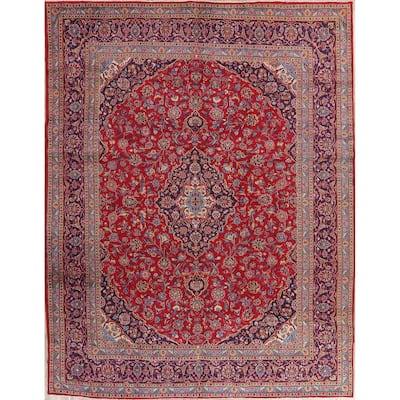 "Decorative Floral Mashad Persian Area Rug Handmade Oriental Red Carpet - 9'7"" x 12'8"""