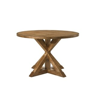 Round Wooden Table with Pedestal Base, Weathered Oak Brown
