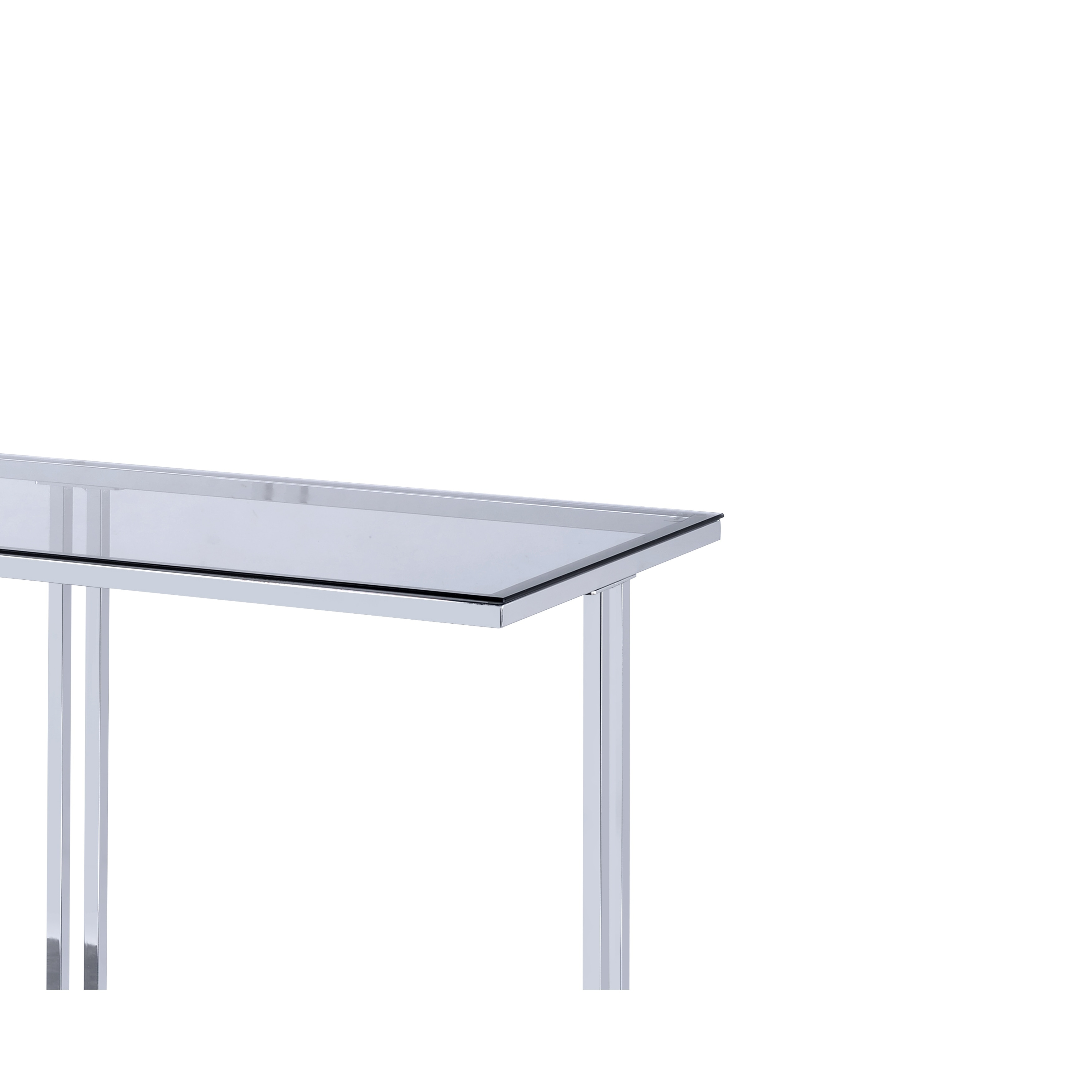 Gl Top Metal Sofa Table With Marble Bottom Shelf Silver And Clear