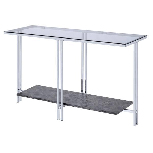 Gl Top Metal Sofa Table With Marble Bottom Shelf