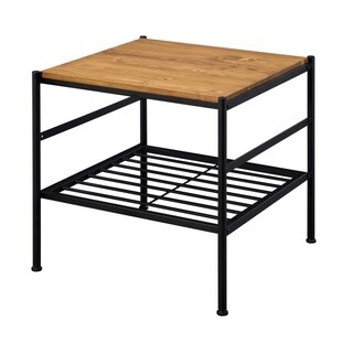 Metal and Wooden End Table with Slatted Bottom Shelf,Brown and Black