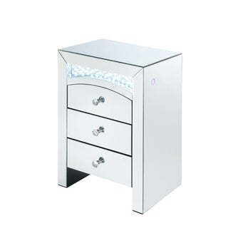 Mirrored Wooden Night Table with 3 Storage Drawers and Knobs, Silver
