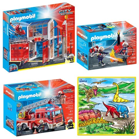 PlayMobil Fire Station, Fire Ladder Unit and Firefighters with Water Pump, 310 Pcs Kids Playset with PlayMat & 12 Markers
