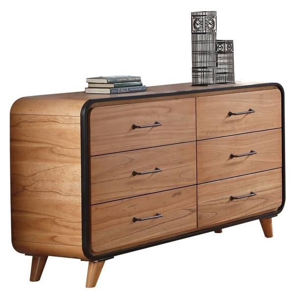 Wooden Dresser with Six Drawers with Tapered Legs, Brown and Black