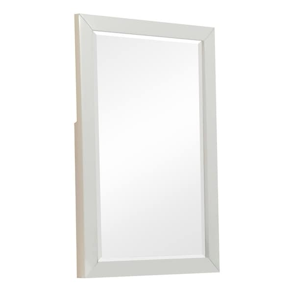 Rectangular Wooden Dresser Mirror with Bevelled Edges, White