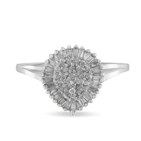 10k White Gold 1/2ct TDW Diamond Cluster Ring (H-I, I1-I2)