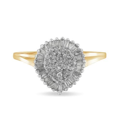 10K Yellow Gold 1/2ct. TDW Diamond Cluster Ring (J-K,I1-I2)