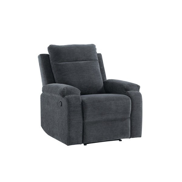 Fabric Upholstered Wooden Recliner Chair with Tufted Detail, Blue