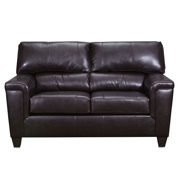 Leatherette Recliner Loveseat with Tapered Leg Support, Black