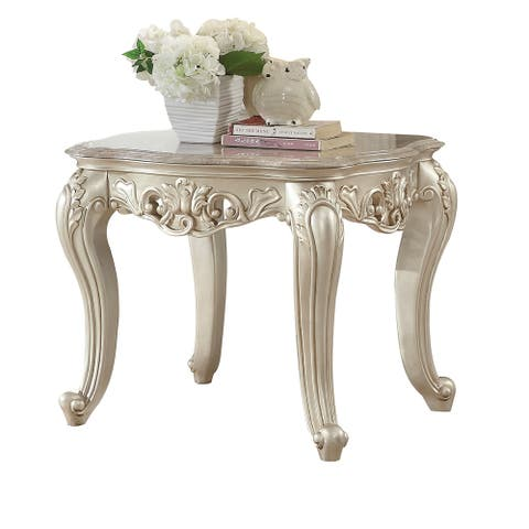 Traditional Style Marble Top End Table with Poly Resin Engravings,Gold