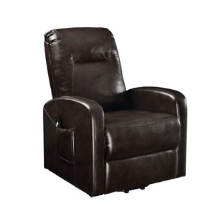 Faux Leather Upholstered Wooden Recliner with Power Lift, Brown