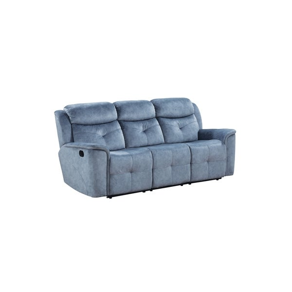 Fabric Upholstered Recliner Sofa with Tufted Details, Blue