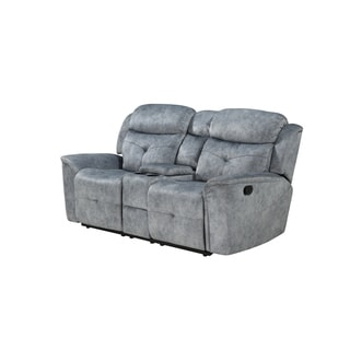 Fabric Upholstered Recliner Loveseat with USB Charging Docks, Gray