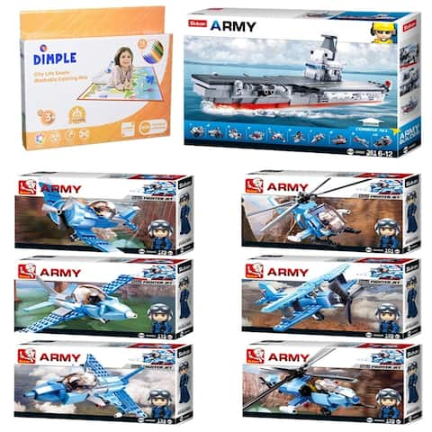 SlubanKids Army Aircraft Building Blocks 10 in 1 Fighter Jet, Helicopter, Fighter Jets Toy 1089 Pcs with Playmat and 12 Markers