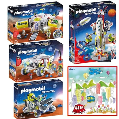 PLAYMOBIL Mars Space Station, Mission Rocket, Launch Site, Research Vehicle, Rover Kids Play sets with Playmat with 12 Markers