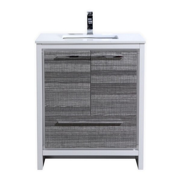 Dolce 30″ Ash Gray Modern Bathroom Vanity with White Quartz Countertop