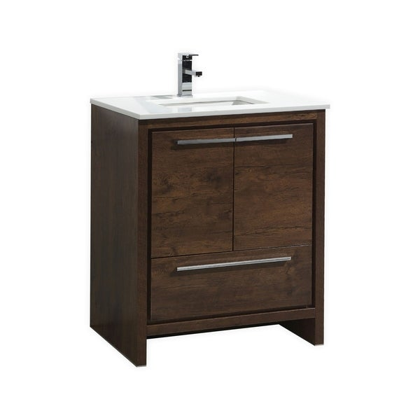 Dolce 30″ Rose Wood Modern Bathroom Vanity with White Quartz Countertop