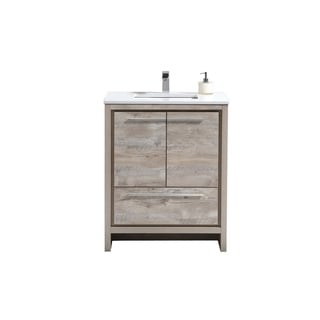 Dolce 30″ Nature Wood Modern Bathroom Vanity with White Quartz Countertop