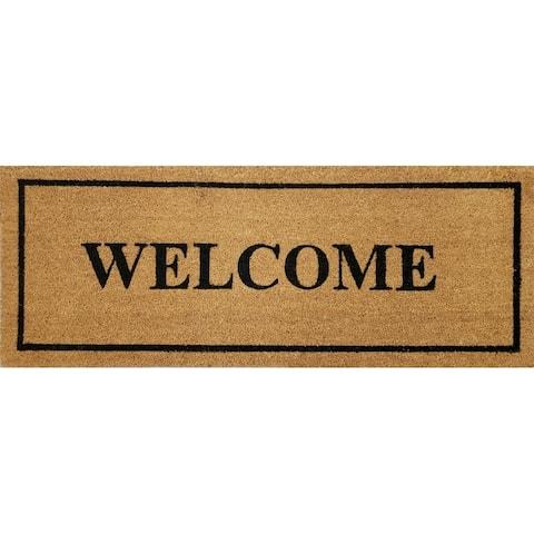 """""""Welcome"""" Large Coir Double Door Mat"""