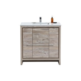 Dolce 36″ Nature Wood Modern Bathroom Vanity with White Quartz Countertop