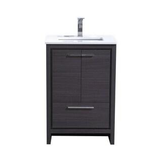 Dolce 24″ Gray Oak Modern Bathroom Vanity with White Quartz Countertop