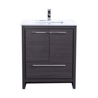 Dolce 30″ Gray Oak Modern Bathroom Vanity with White Quartz Countertop