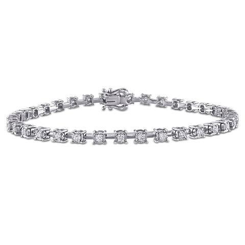 Miadora 14k White Gold 4/5ct TDW Diamond Tennis Bracelet
