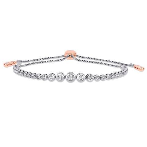Miadora 14k 2-Tone Gold 1 1/5ct TDW Diamond Graduated Adjustable Bolo Tennis Bracelet