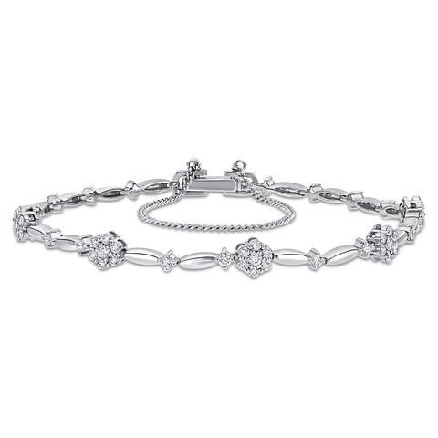 Miadora 18k White Gold 4/5ct TDW Diamond Floral Composite Station Bracelet