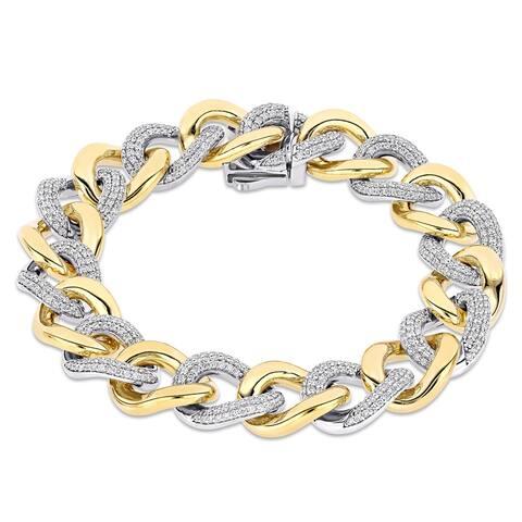 Miadora 14k 2-Tone White and Yellow Gold 3 1/4ct TDW Diamond Chain Link Bracelet