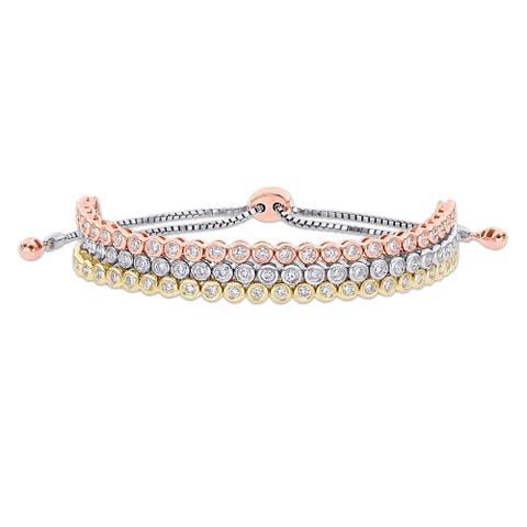 Miadora 14k 3-Tone Gold 1 1/2ct TDW Diamond Triple-row Adjustable Bolo Tennis Bracelet