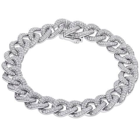 Miadora 14k White Gold 4 1/4ct TDW Diamond Chain Link Bracelet