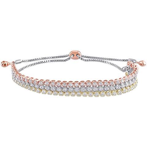Miadora 14k 3-Tone Gold 1 3/4ct TDW Diamond Triple Layered Bolo Tennis Bracelet