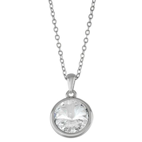 """Forever Last 14kt white Gold Overlay 18"""" Necklace round clear Pendant"""