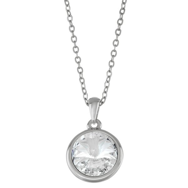 """Forever Last 14kt white Gold Overlay 18"""" Necklace round clear Pendant. Opens flyout."""